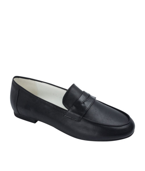 AnnaKastle Womens Cute Leather Penny Loafers Black