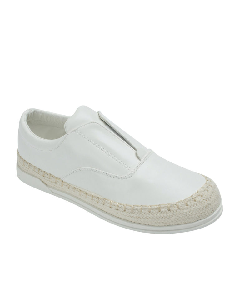 AnnaKastle Womens Espadrille Laceless Slip-On Sneakers White