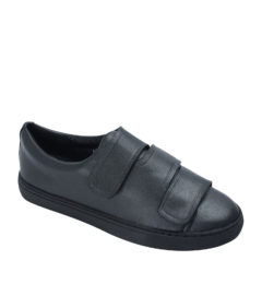 AnnaKastle Womens Faux Leather Three Strap Sneakers Black