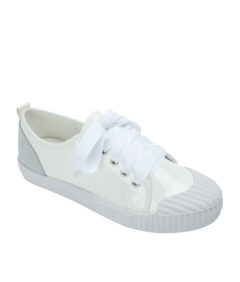 AnnaKastle Womens Faux Patent Leather Rubber Toe Sneakers White