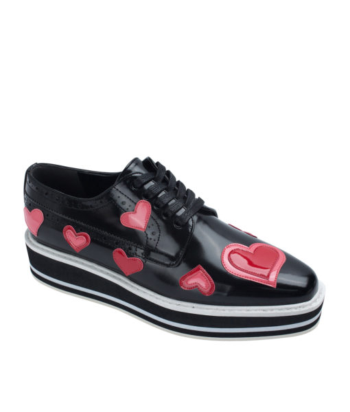 AnnaKastle Womens Glossy Heart Patch Platform Oxford Shoes Black