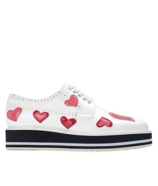 AnnaKastle Womens Glossy Heart Patch Platform Oxford Shoes White