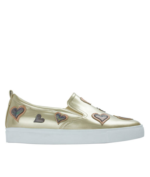 AnnaKastle Womens Heart Patch Metallic Gold Slip-On Sneakers