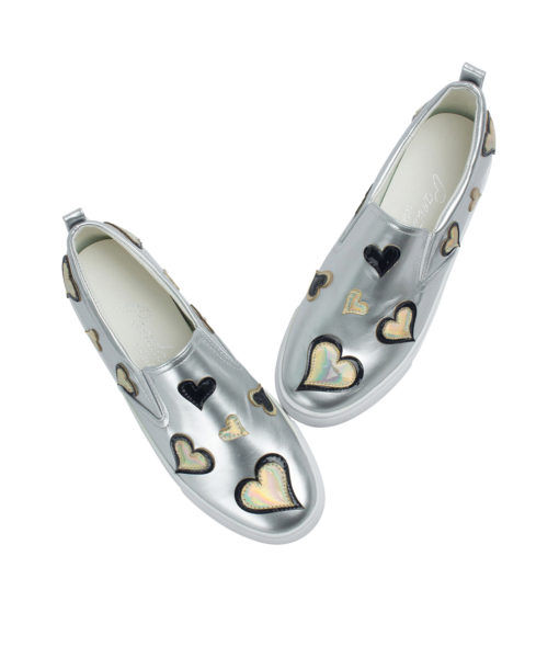 AnnaKastle Womens Heart Patch Metallic Silver Slip-On Sneakers