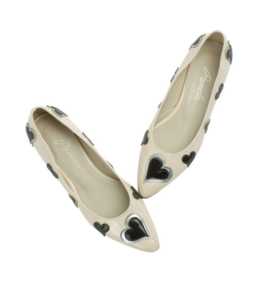 AnnaKastle Womens Heart Patch Patent Pointed Toe Ballet Flats Nude Pink