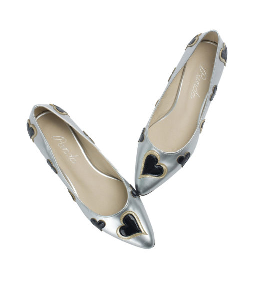 AnnaKastle Womens Heart Patch Patent Pointed Toe Ballet Flats Silver