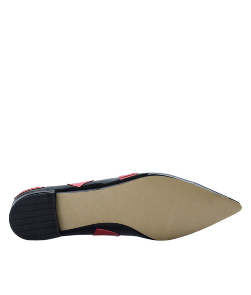 AnnaKastle Womens Heart Patch Patent Pointed Toe Ballet Flats Black