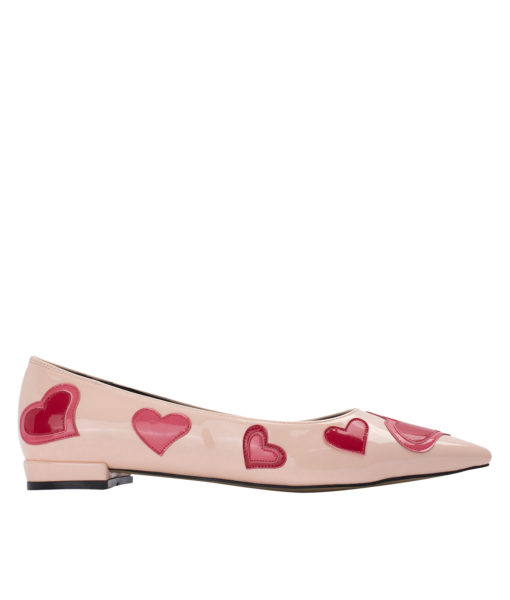 AnnaKastle Womens Heart Patch Patent Pointed Toe Ballet Flats Pink