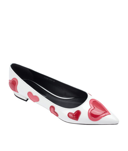 AnnaKastle Womens Heart Patch Patent Pointed Toe Ballet Flats White