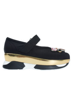 AnnaKastle Womens Jeweled Mary Jane Sneakers Black