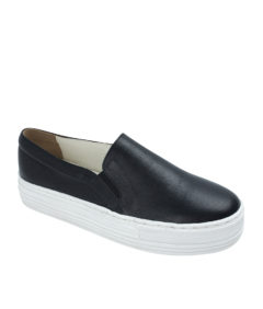 AnnaKastle Womens Leather Platform Slip On Sneakers Black