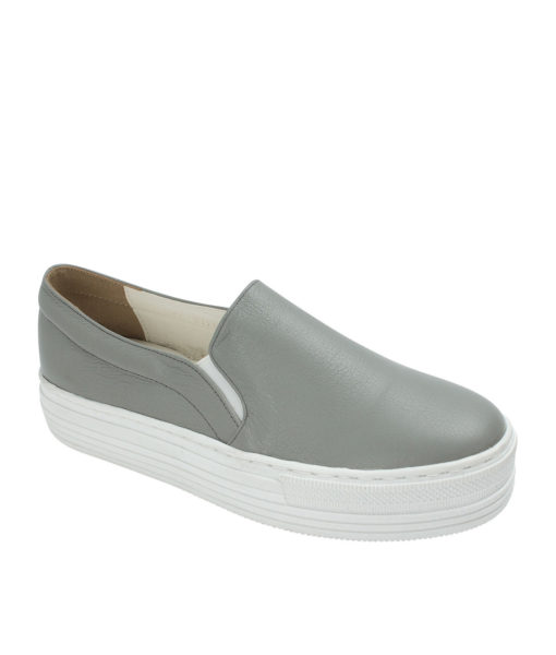 AnnaKastle Womens Leather Platform Slip On Sneakers Gray