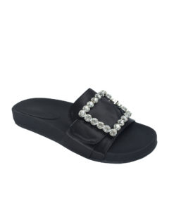 Annakastle Womens Jeweled Buckle Satin Slide Sandals Black