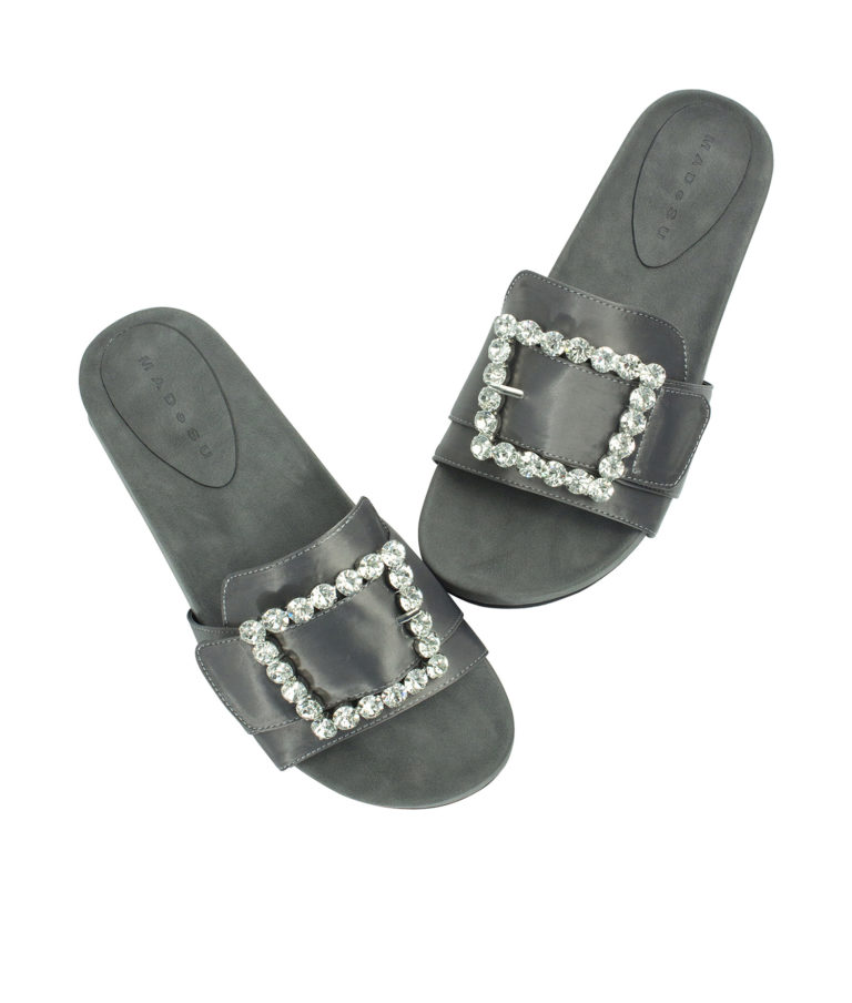 Annakastle Womens Jeweled Buckle Satin Slide Sandals Gray