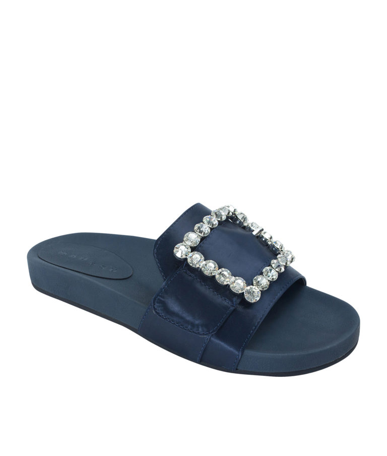 Annakastle Womens Jeweled Buckle Satin Slide Sandals Navy
