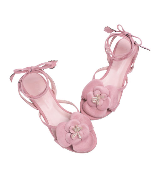 Annakastle Womens Flower Ankle-Wrap Flat Sandals Pink
