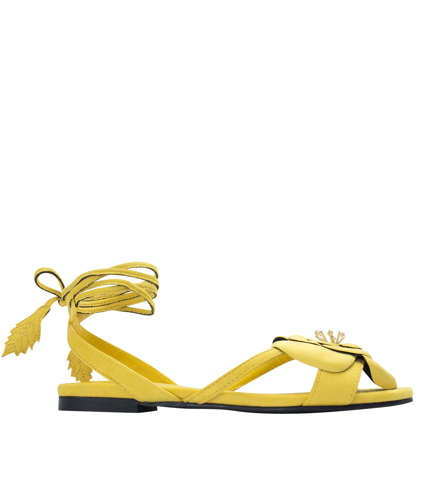 Annakastle Womens Flower Ankle-Wrap Flat Sandals Yellow