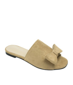 Annakastle Womens Cute Bow Open Toe Flat Mules Beige