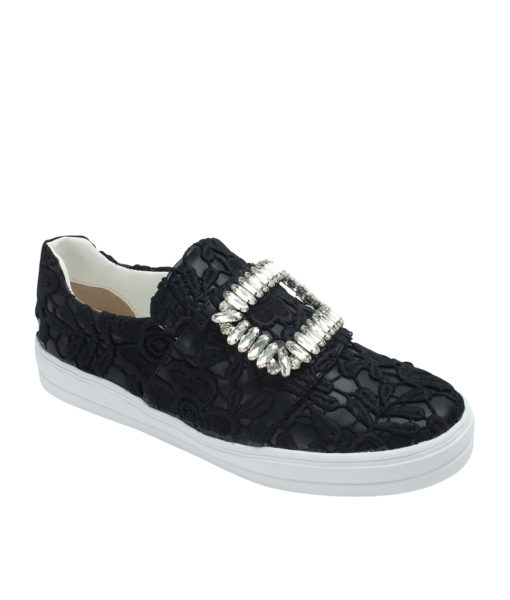 Annakastle Womens Floral-Lace Slip On Sneakers Black