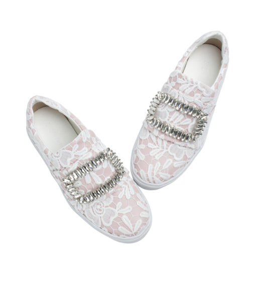 Annakastle Womens Floral-Lace Slip On Sneakers Pink