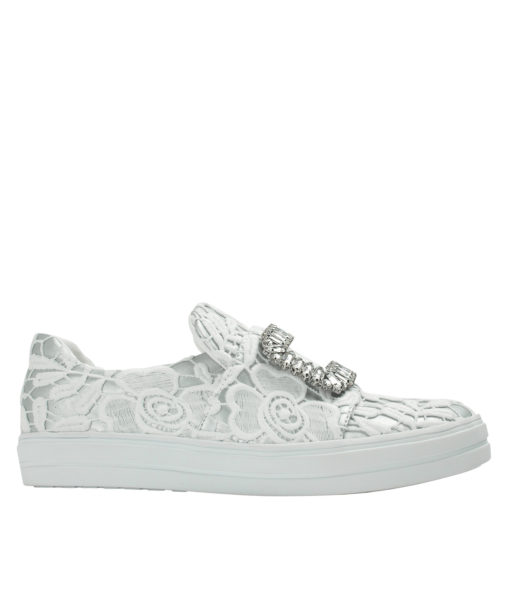 Annakastle Womens Floral-Lace Slip On Sneakers Silver