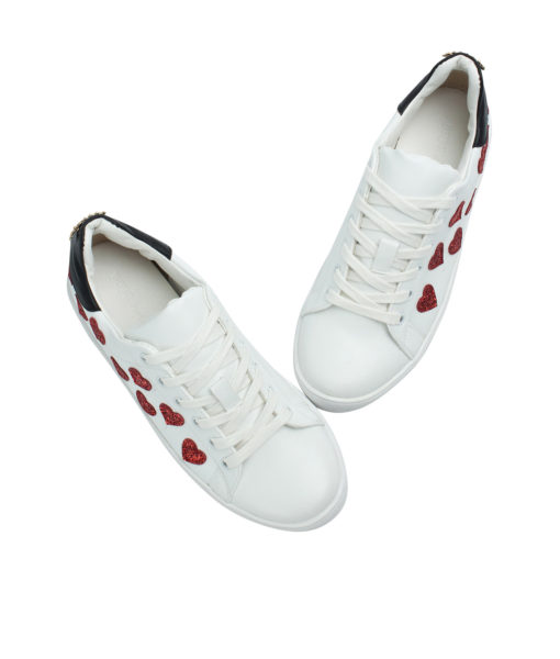 Annakastle Womens Heart Glitter Patches White Fashion Sneakers
