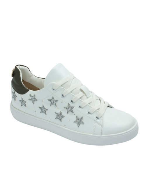 Annakastle Womens Star Glitter Patches White Fashion Sneakers