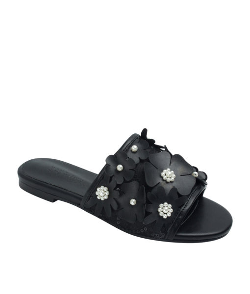 Annakastle Womens Beads Flower Embellished Sandals Black