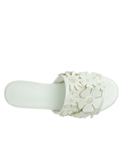 Annakastle Womens Beads Flower Embellished Sandals White