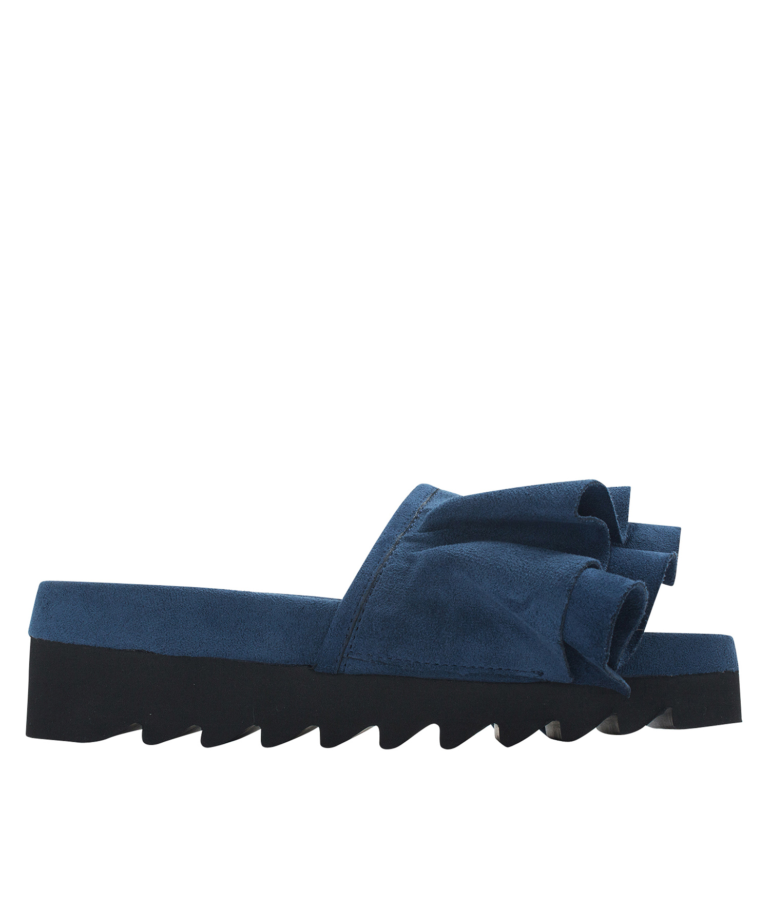 Annakastle Womens Faux Suede Ruffled Sandals Navy