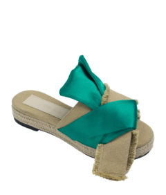 Annakastle Womens Natural Bow Jute Platform Sandals Green + Khaki