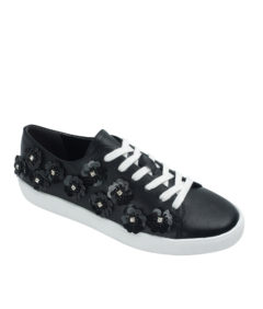 Annakastle Womens Sequin Flower Lace-Up Sneakers Black