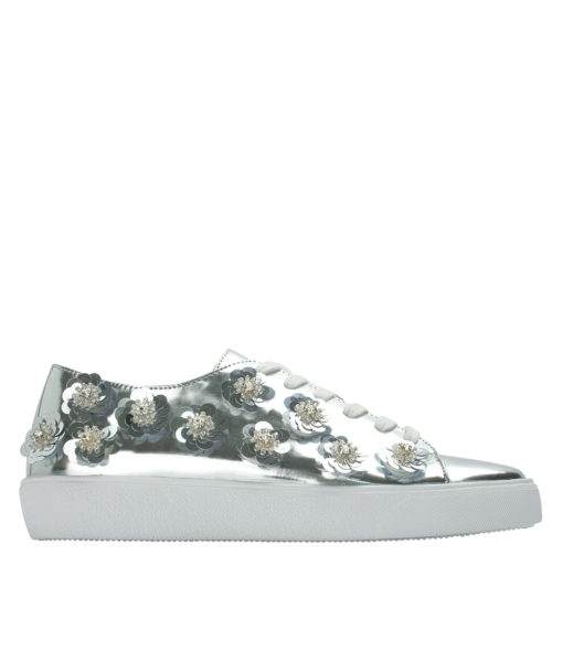 Annakastle Womens Sequin Flower Lace-Up Sneakers Silver