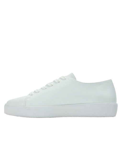 Annakastle Womens Sequin Flower Lace-Up Sneakers White