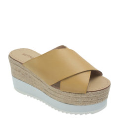 Annakastle Womens Criss Cross Espadrille Wedge Sandals Tan