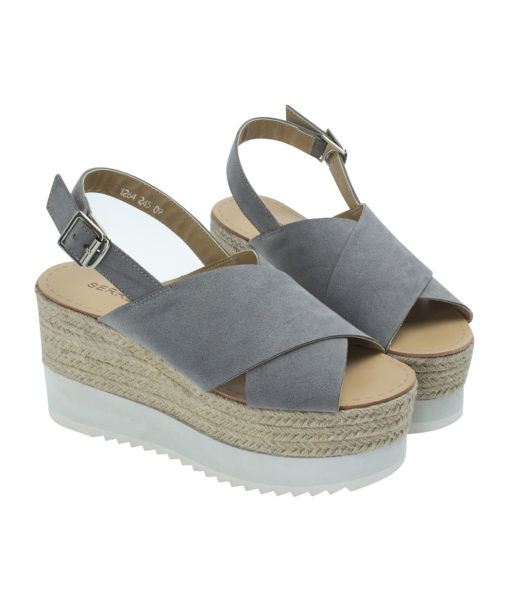 Annakastle Womens Faux Suede Slingback Wedge Sandals Gray