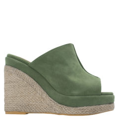 Annakastle Womens Faux Suede Espadrille Wedge Mule Sandals Pale Green