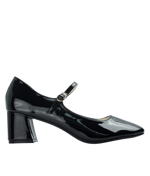 Annakastle Womens Faux Patent Mary Jane Chunky Heel Pumps Black