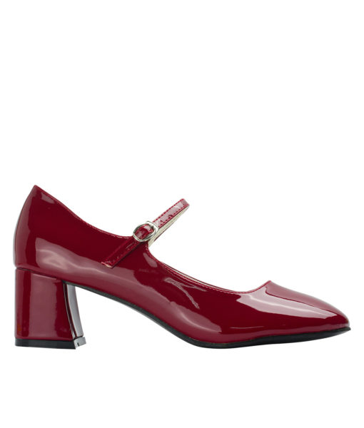 Annakastle Womens Faux Patent Mary Jane Chunky Heel Pumps Burgundy