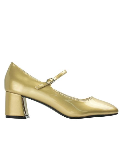 Annakastle Womens Faux Patent Mary Jane Chunky Heel Pumps Gold
