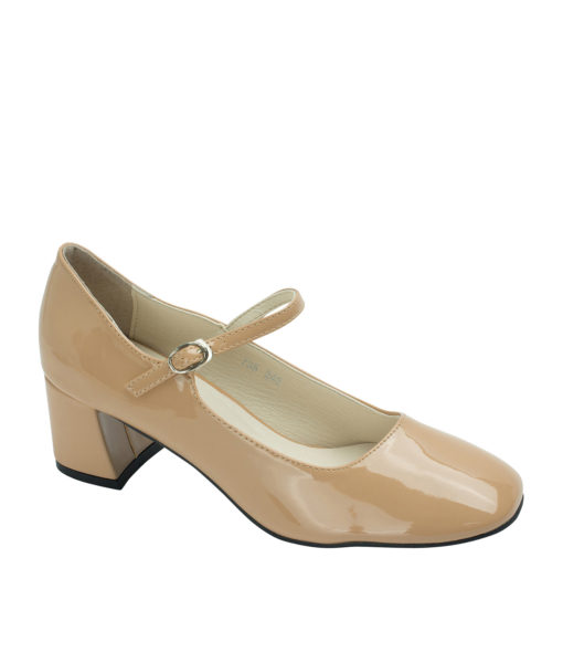 Annakastle Womens Faux Patent Mary Jane Chunky Heel Pumps Nude Beige