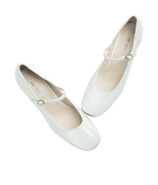 Annakastle Womens Faux Patent Mary Jane Chunky Heel Pumps White