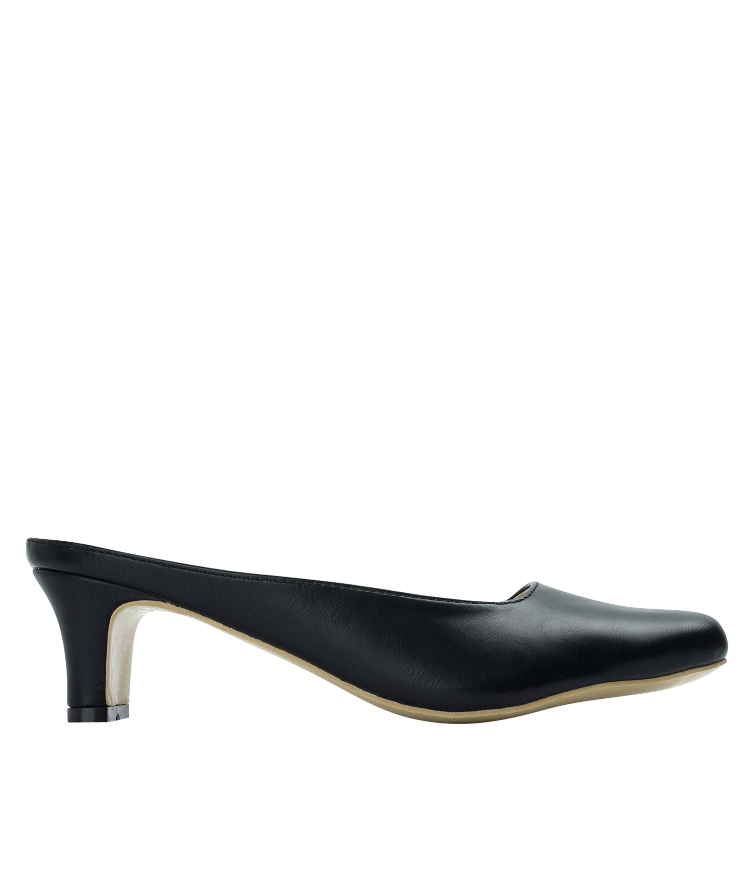 Annakastle Womens Faux Leather Mules Heeled Slippers Black