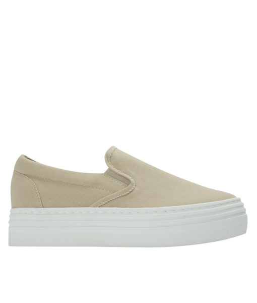 Annakastle Womens Canvas Platform Skate Sneakers Beige