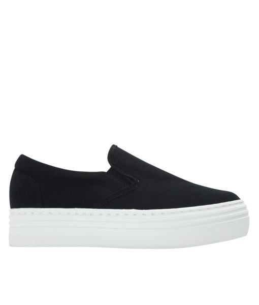 Annakastle Womens Canvas Platform Skate Sneakers Black