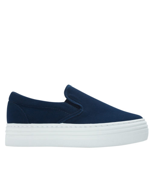 Annakastle Womens Canvas Platform Skate Sneakers Navy