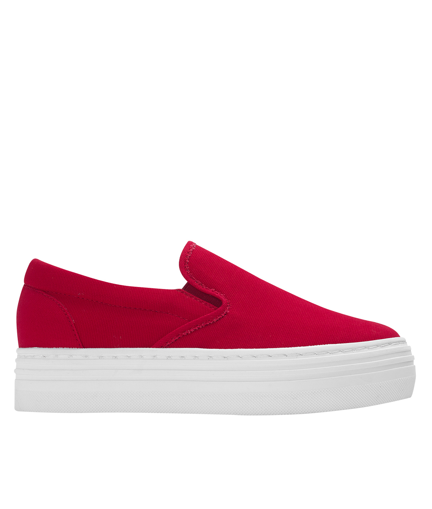 Annakastle Womens Canvas Platform Skate Sneakers Red