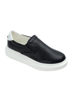 Annakastle Womens Thick Sole Slip On Sneakers Black