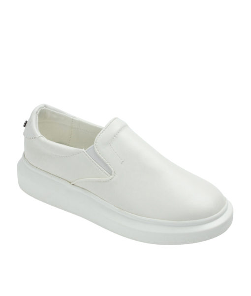 Annakastle Womens Thick Sole Slip On Sneakers White