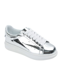 Annakastle Womens Faux Leather Chunky Sole Sneakers Silver